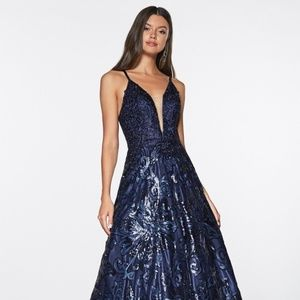 EVENING PROM formal GOWN  MAXI dress CDML923 NAVY